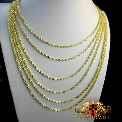 - 10K MEN'S WOMEN'S REAL10K YELLOW GOLD HOLLOW ROPE CHAIN NECKLACE 2 MM 16~26 INCH