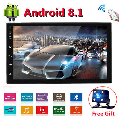 Android 8.1 Car Stereo Radio GPS Navigation WIFI OBD2 Multimedia Double Din 7""