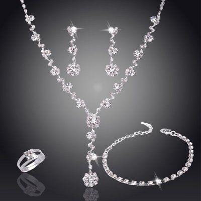 Fashion Silver Crystal Rhinestone Necklace Earrings Set Women Wedding Jewelry