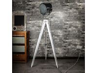 Brand New Boxed White Tripod Light with Chrome Lamp