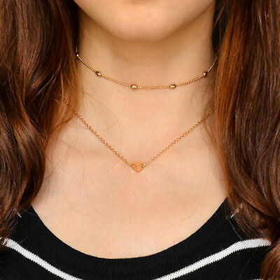 Jewelry Pendant 925 Silver Gold Heart Choker Chunky Chain Bib Necklace Women GF ()