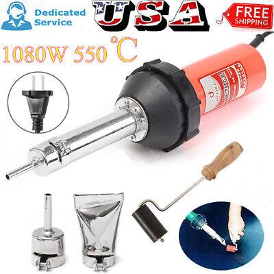 1080w Plastic Welder Hot Air Welding Gun Heat Torch 2 Speed Nozzle Roller Us
