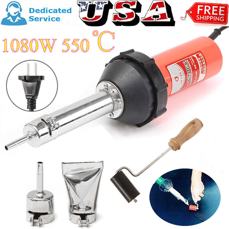 1080W Plastic Welder Hot Air Welding Gun Heat Torch + 2 Speed Nozzle & Roller US