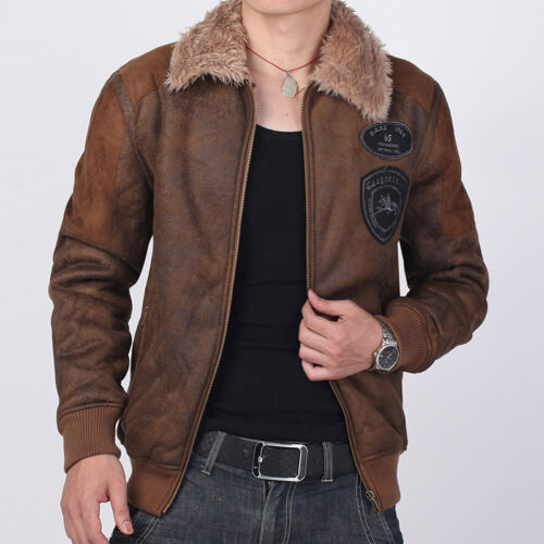 New Men's Faux Fur Leather Jackets Cold Weather Fleece ...