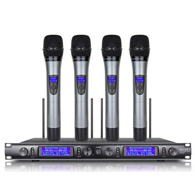 UHF 4 Channel Handheld Metal Mic Wireless Microphone System Karaoke DJ singing for sale  Shipping to Nigeria