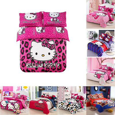 Hello Kitty Cartoon Kids Bedding Sets Duvet Cover Bed Sheet Twin Full Queen -
