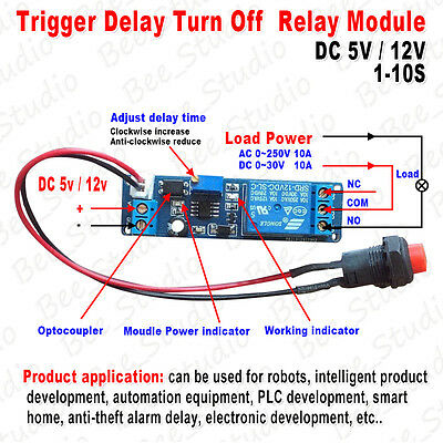Dc 5v 12v 1s10s Adjustable Timing Timer Delay Turn Off Time Relay Switch Module