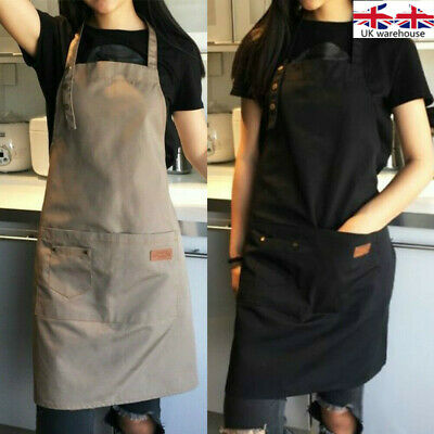 Canvas Polyester Pocket Apron Butcher Crafts Baking Chefs Kitchen Cooking BBQ UK