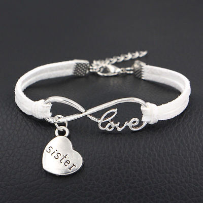 1pc Infinity Love Sister Bracelet Anklet Heart Charm Friendship Sis Jewelry Gift (Friend Ship Bracelets)