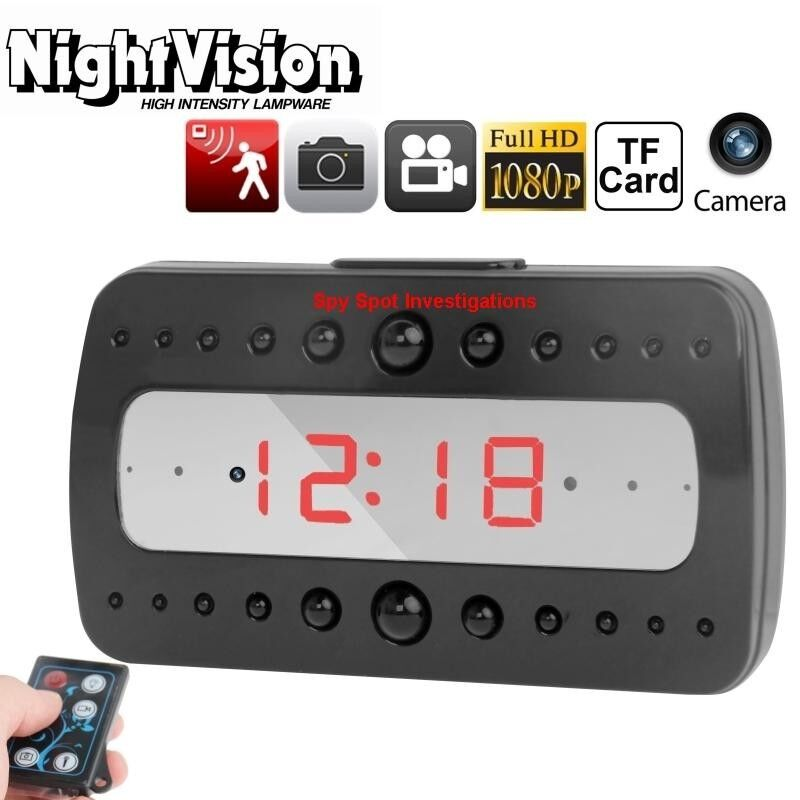 Spy Spot HD Night Vision Motion Activated Alarm Clock Surveillance Video Camera