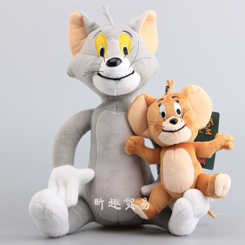 Soft Tom and Jerry Plush Doll Cartoon Stuffed Animal Toy Anime Cat & Mouse Gift