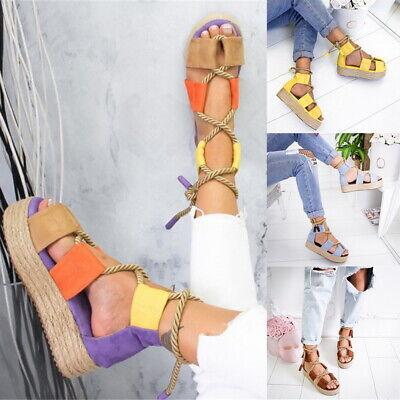Tie Platform Sandal (Women Sandals Wedg Flatform Rope Ankle Lace Tie Up Platform Summer Espadrilles )