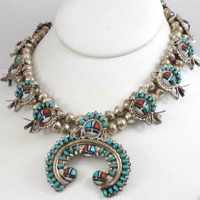 VTG Sterling Silver Squash Blossom Zuni Sunface Turquoise Necklace 28