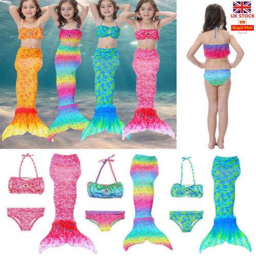 Mädchen Meerjungfrau Schwanz mit Monofin Bademode Flossen Badeanzug Bikini Set