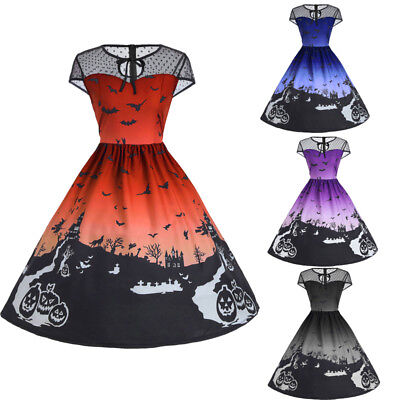 M-2XL Halloween Mesh Insert A-Line Dress For Lady Vintage Corset Swing One Piece