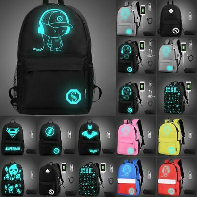 Night Luminous Backpack Boys Girls USB Charging Bookbag Scho