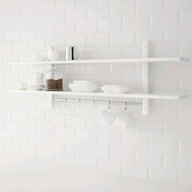 Ikea Wall shelf with 5 hooks, white140x50 cm