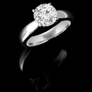 (1625L STOCK)BAGUE EN OR 14K À DIAMANT SOLITAIRE .90 CARAT/SOLITAIRE DIAMOND ENGAGEMENT RING .90 CARAT