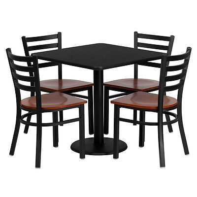 Restaurant Table Chairs 30 Black Laminate With 4 Ladder Back Metal Chairs