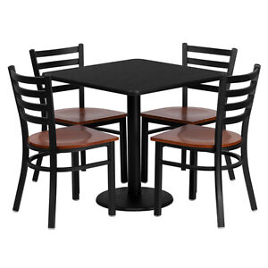 Restaurant Table Chairs 30'' Black Laminate with 4 Ladder Back Metal Chairs