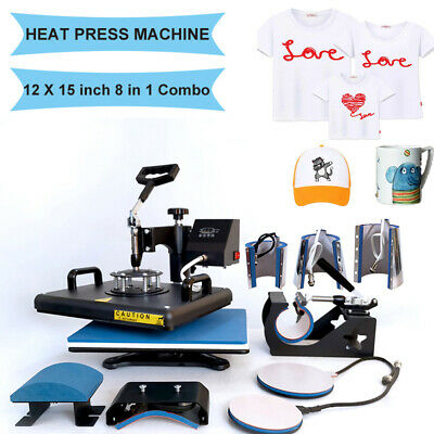 8 In1 Combo Heat Press Machine Digital Transfer Printing T-shirt Mug Hat 12x15