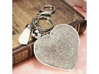 New Diamante heart keyrings