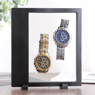 Black Jewelry Bracelet Pearl Necklace Photo Frame Watch Display Box Stand Case