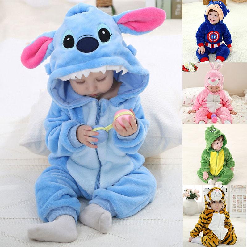 Baby Kinder Jungen Mädchen Tier Kostüm Jumpsuit Romper Fleece Pyjama Bademantel