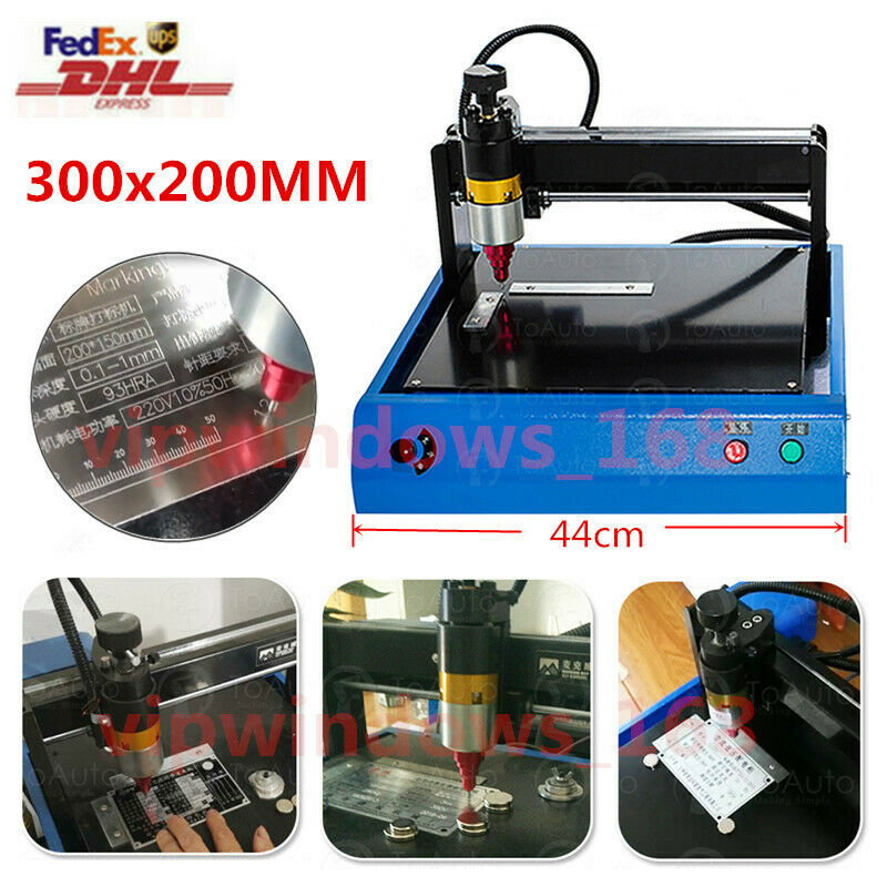 ElectricRouter Metal MarkingEngraving Machine 300x200mm For DogTag Steel PCB