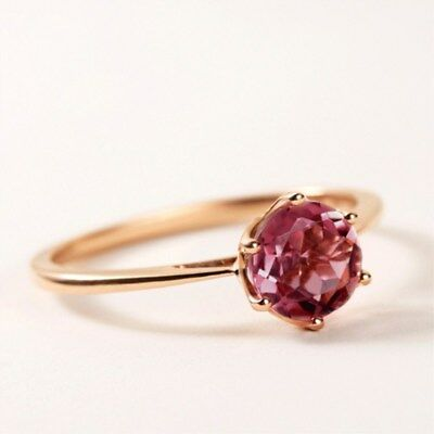 Ruby Gold Wedding Bands - 4/6 Claws Red Ruby Rose Gold Filled Band Womens Wedding Solitaire Ring Size 4-10