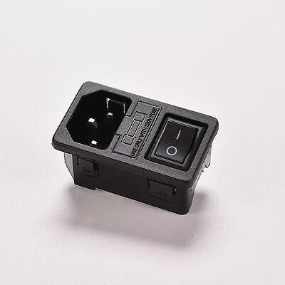 Panel Mount Rocker Switch Iec320 C14 3 Pin Plug Power Socket Ac250v 10as