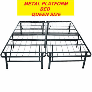 HEAVY DUTY PLATFORM METAL BED FRAME /MATTRESS FOUNDATION QUEEN