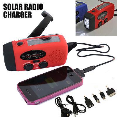 Emergency Solar Wind Up Hand Crank 3 Led Flashlight Am Fm Weather Radio Charger