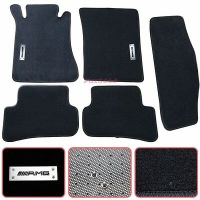 For 01-07 Mercedes-Benz W203 C-Class Floor Mats Carpet Nylon Black 5PC w/ Emblem