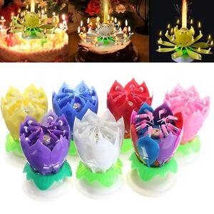 Fleur Bougie Musical Double Lotus Rotatif Soireé Gâteau Anniversaire