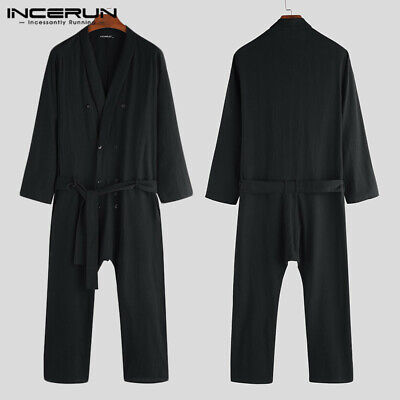 Men's Casual Long Sleeve Cargo Overalls Pants Baggy Jumpsuits Rompers Trousers Cotton Long Sleeve Overalls