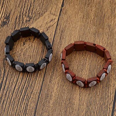 1 Pc Women Muslim Bracelet Wooden Elastic Bangle Allah Islamic Jewelry - Wooden Bangles