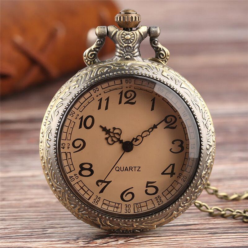 Bronze Retro Transparent Case Mens Womens Analog Quartz Pocket Watch Necklace