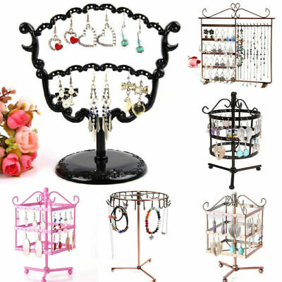 10 Styles Earrings Display Holder Necklace Jewelry Organizer Metal Studs Stand