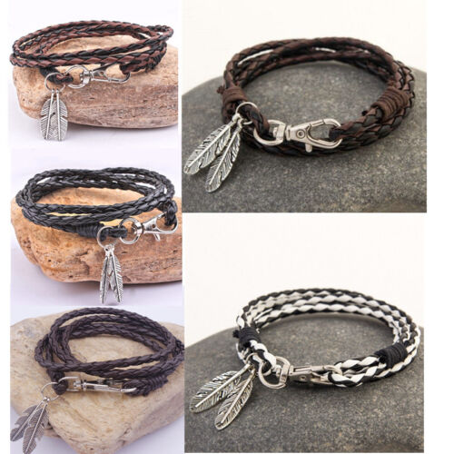 Men Bangle Alloy Feather Leather Wrap Braided Wristband Cuff Punk Bracelet