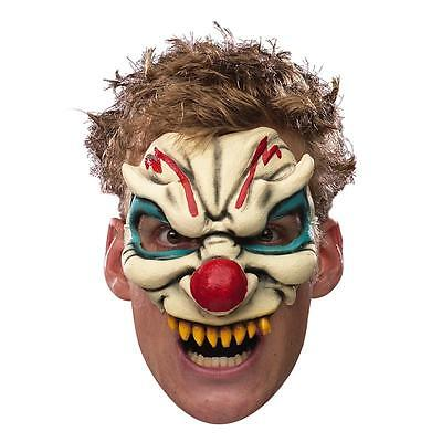 Evil Clown Mask Chinless Half Latex Adult Facemask Scary Head Red Nose Mens - Latex Clown Nose