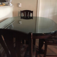 Dinning Room Table with glass top and Hutch