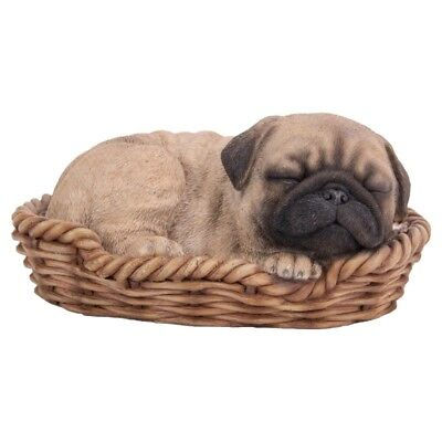 New WICKER BASKET PUPS Figurine Statue PUG DOG PUPPY in Bed Sleeping TAN