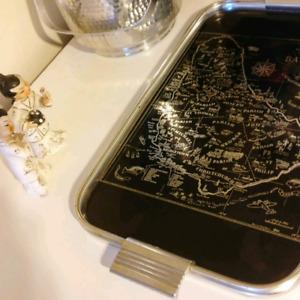 Vintage silver and black Barbados bar tray