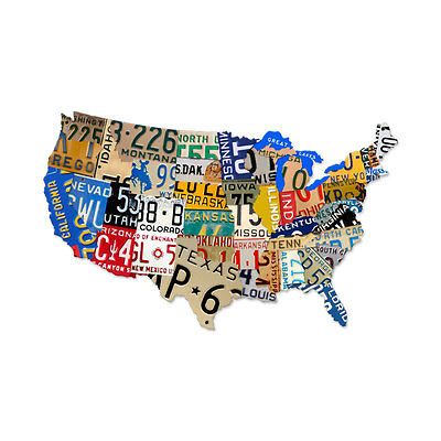 Vintage License Plate USA Map of the United States Steel Metal Garage Sign 35x21