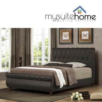 Ansel Matt Brown Dbl/Queen/king Size PU Leather bed