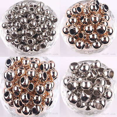 14k Gold Rose Beads - 20/50Pcs 14K Rose Gold Plated Big Hole Round Spacer Beads Bracelet 10/12/14MM