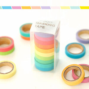 10 X DIY Decorative Washi Rainbow Sticky Paper Masking Adhesive Tape Label Craft