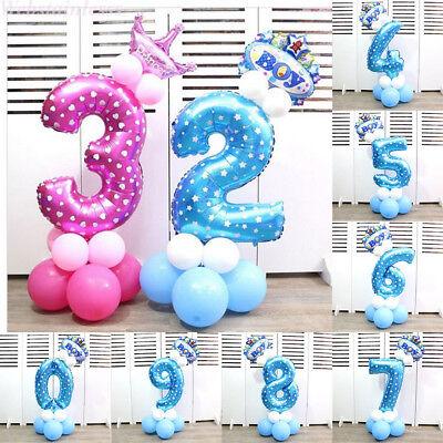 Nummer Folienballon 32 Zoll Blau/Rosa Digit Helium Ballons Geburtstag Dekor WEB