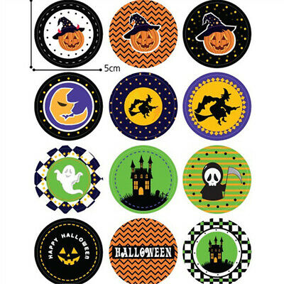 Paper Bags Halloween Crafts (120X Paper Sticker Gift Lable Seal Sticker Candy Bag Labels Halloween Supplie)